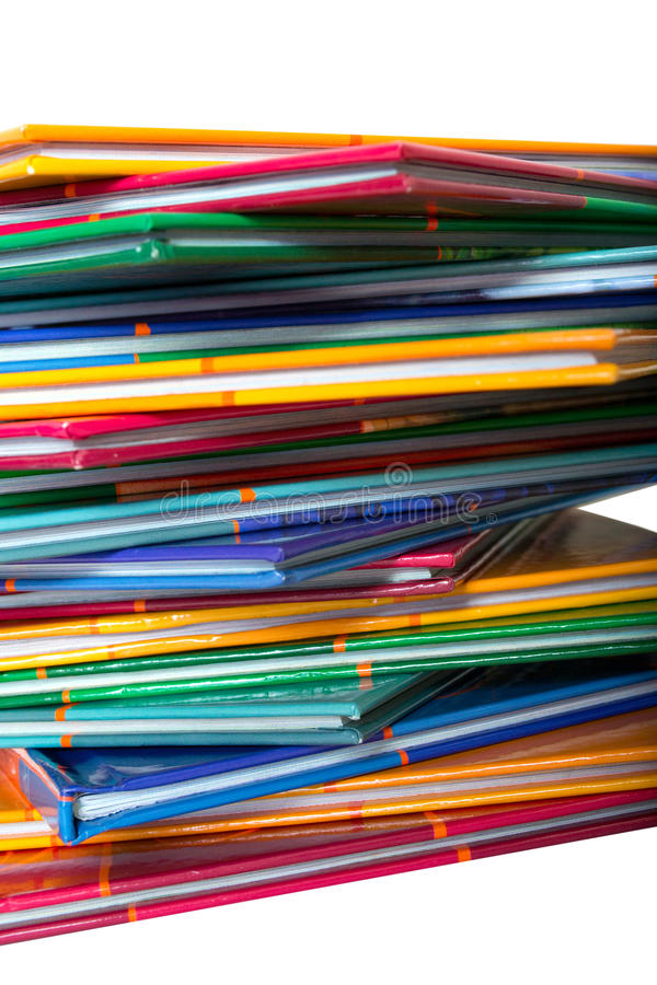 A stack of colored thin books stock image