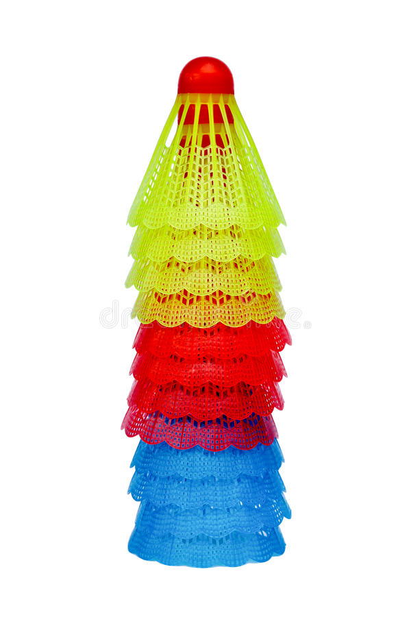 Stack of colorful badminton shuttlecocks royalty free stock photo