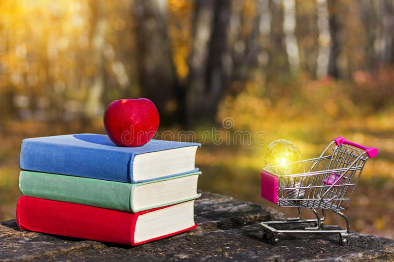 Stack of colorful books and an apple on the old wooden table in a dark forest at sunset. Shopping cart and light bulb. stock photos
