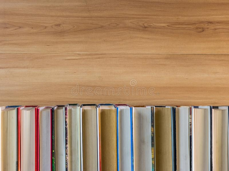Stack of colorful books. Education background. Back to school. Copy space for text royalty free stock photo