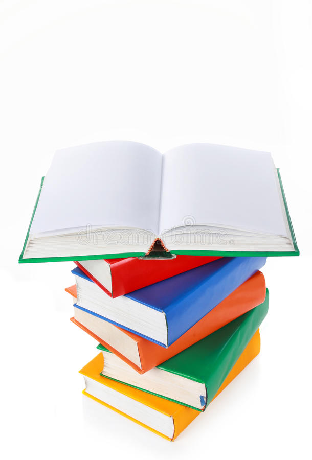 Stack Of Colorful Books, One Book Wide Open On Top Stock Image ...