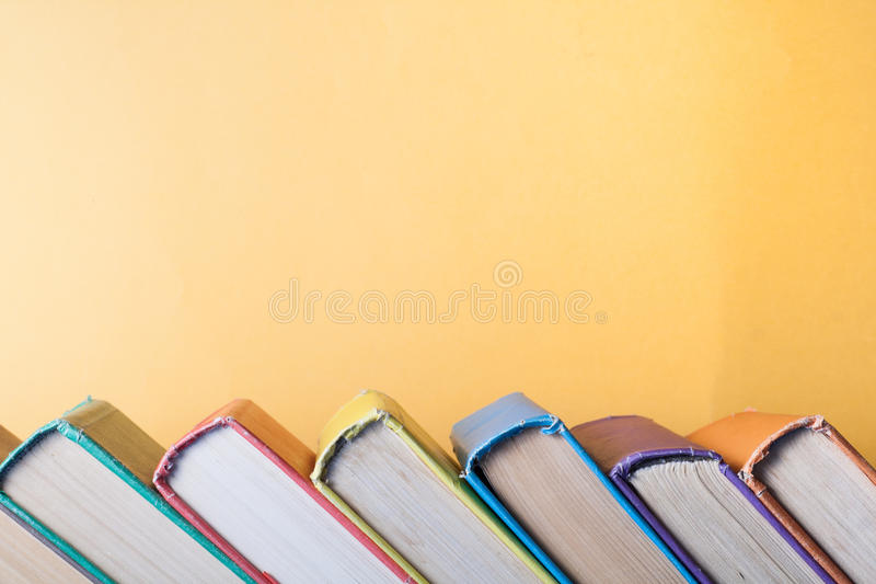 Stack Of Colorful Books On Table. Education Background. Back To ...