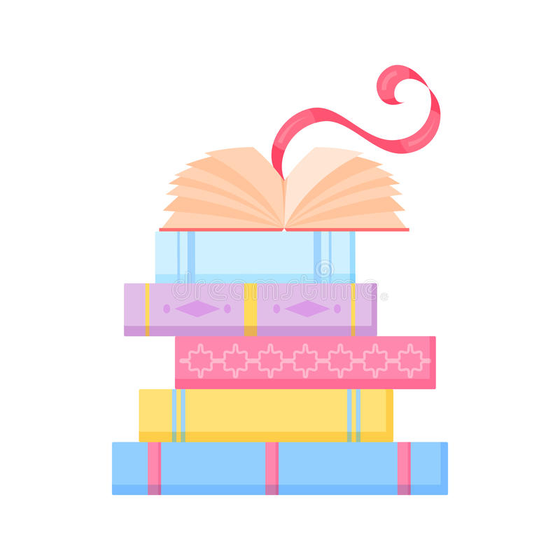 Stack of colorful books royalty free illustration