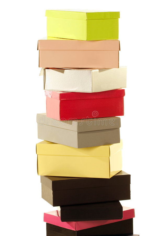 Stack of colorful boxes royalty free stock images