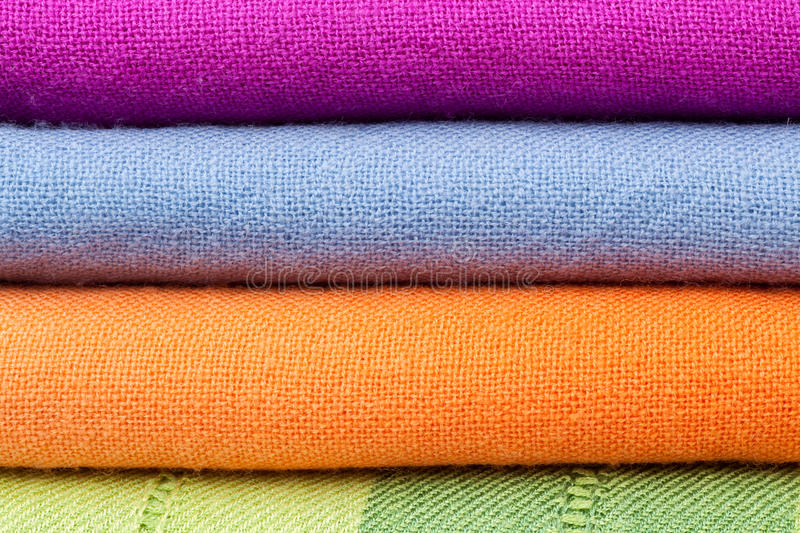 Stack Of Colorful Cotton Cloth Stock Images