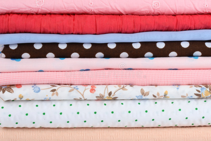Download Stack of colorful fabrics stock photo. Image of textile - 3405046