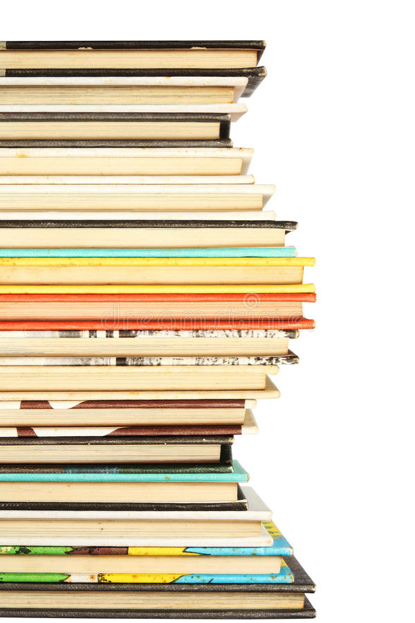 Stack of colorful old books background. Stack of colorful and old books background stock photos