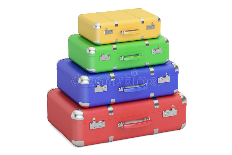 Stack of colorful travel suitcases, 3D rendering vector illustration