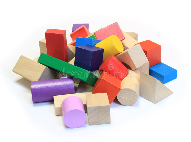 Stack of colorful wooden building blocks stock photo