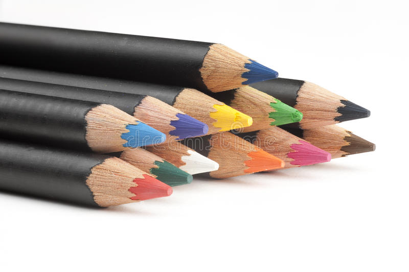 Stack of coloring pencils. stock image