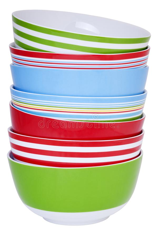 Stack of Colourful Bowls royalty free stock photos