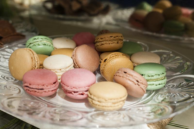 Stack of colourful macarons stock photography