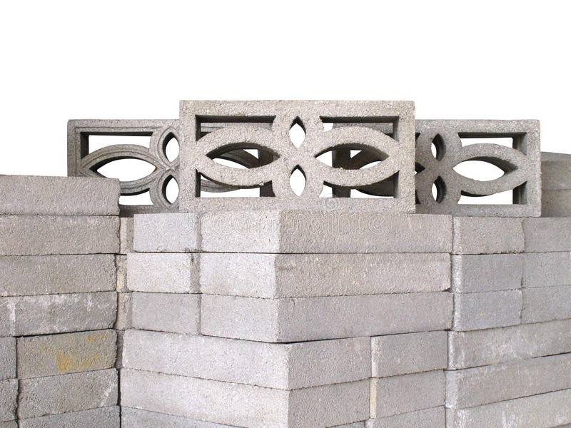 Stack of concrete ventilation blocks. Isolated with clipping path stock photography