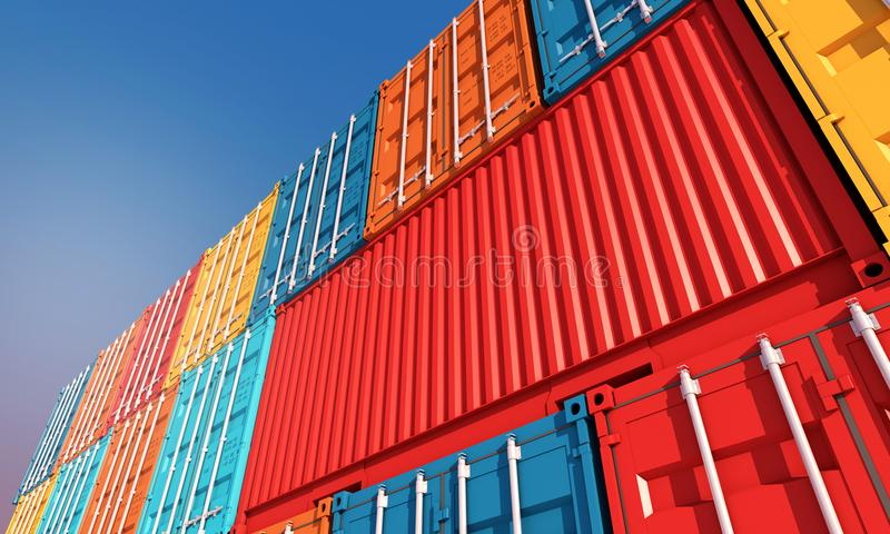 Stack of containers box, Cargo freight ship for import export bu royalty free stock images
