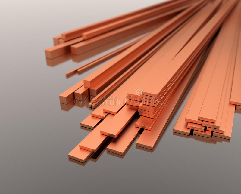 Stack of copper bars - 3d illustration royalty free stock images