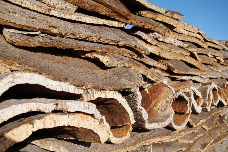 Stack of Cork layers stock image
