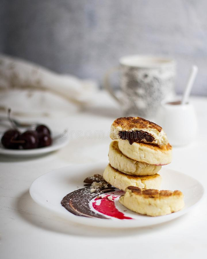 Stack of cottage cheese pancakes royalty free stock photography