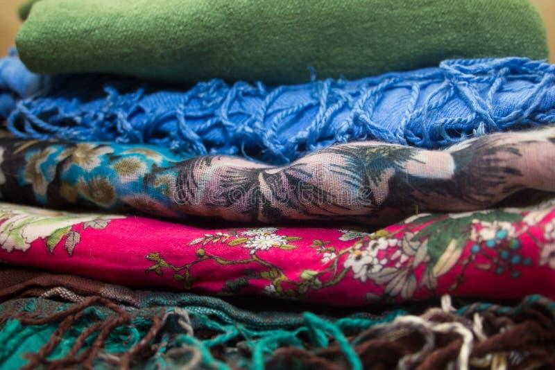 Stack of cotton handkerchiefs. Stack of cotton multicolored handkerchiefs stock images