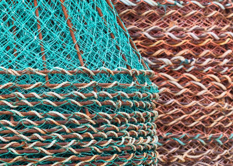 Stack of crab baskets stock photography
