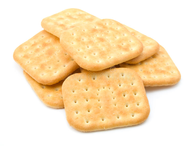 Stack of crackers. Isolated on a white background stock photography