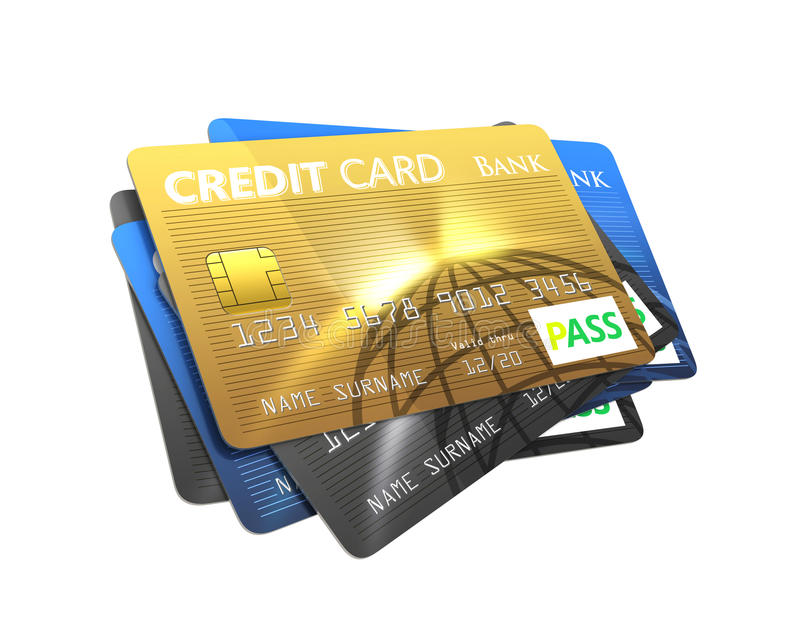 Stack of credit card isolated on white background.  vector illustration