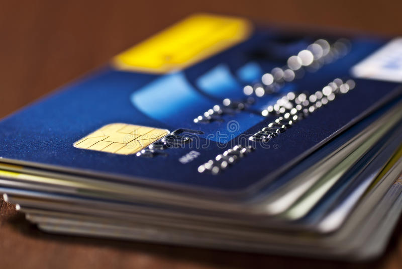 A stack of credit cards royalty free stock photo