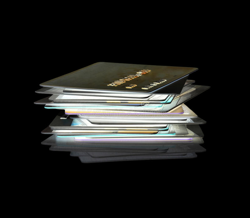 Stack of credit cards. A stack of credit cards in x-ray stock image
