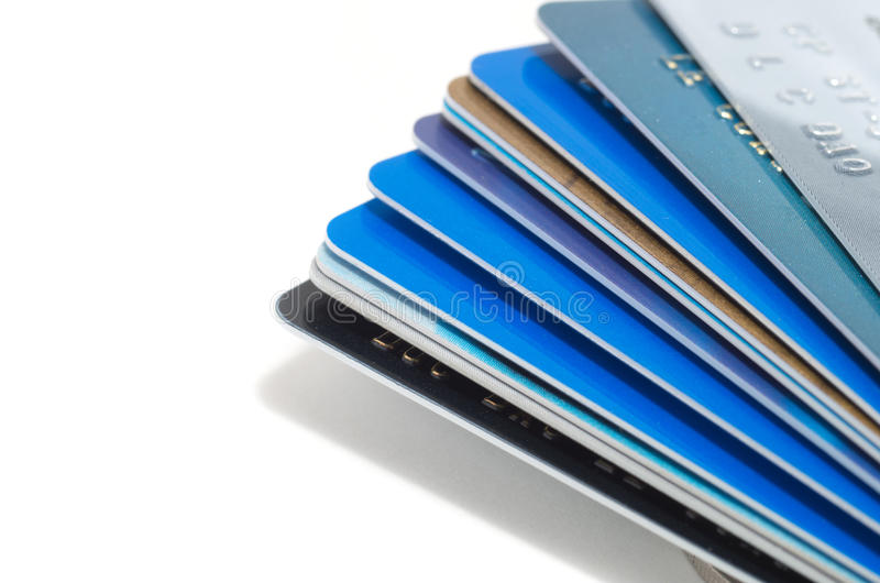 Stack of credit cards royalty free stock images