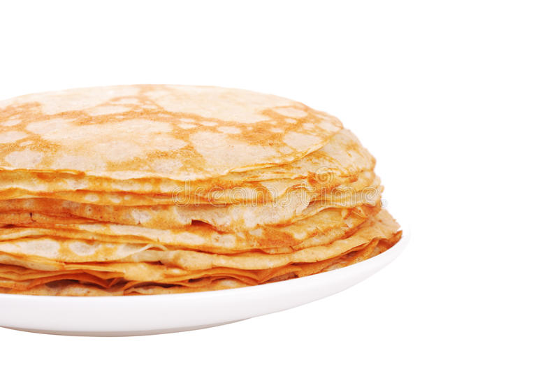 Stack of crepes on a plate royalty free stock photos