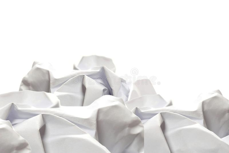 Stack of crumpled paper shaped like a mountain, background stock photo