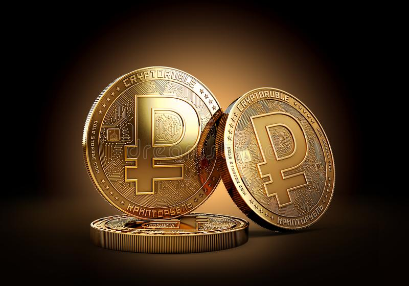 Stack of Crypto ruble cryptocurrency on golden background. Concept coin. 3D rendering royalty free illustration