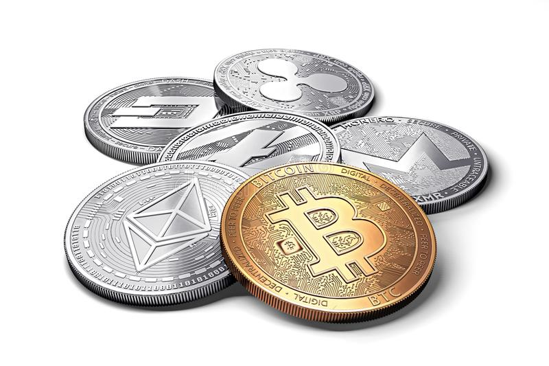 Stack of cryptocurrencies: bitcoin, ethereum, litecoin, monero, dash, and ripple coin together, isolated on white vector illustration