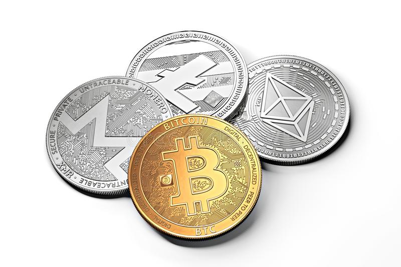 Stack of cryptocurrencies: bitcoin, ethereum, litecoin, monero, dash, and ripple coin together, isolated on white. royalty free illustration