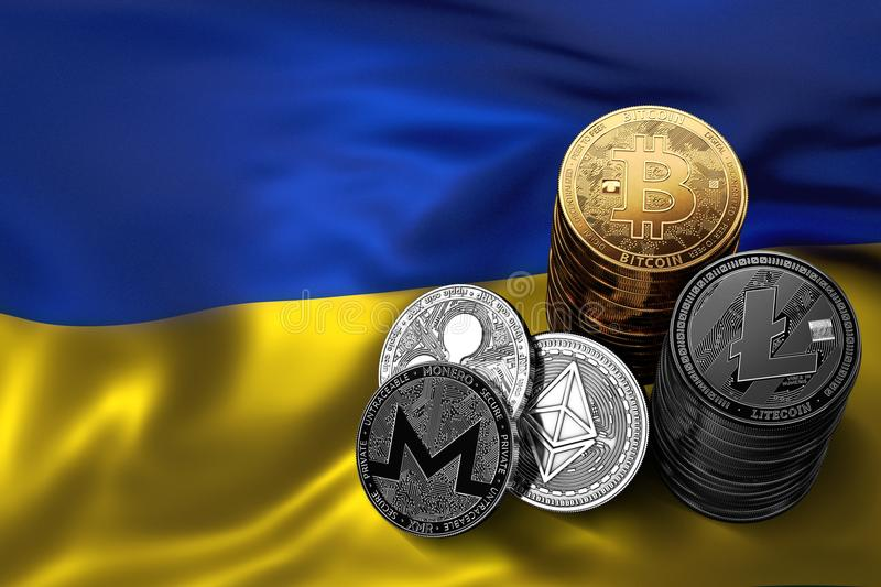Stack of Cryptocurrencies coins on Ukrainian flag. Situation of Bitcoin and other cryptocurrencies in Ukraine concept. 3D Rendering vector illustration