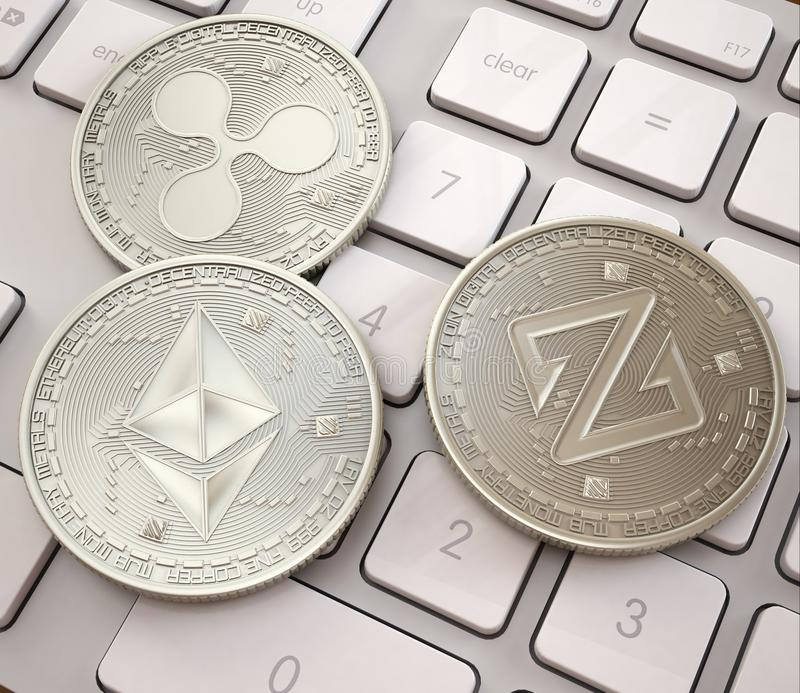 Stack of cryptocurrencies on white keyboard, Platinum physical coins, mining cryptocurrency vector illustration