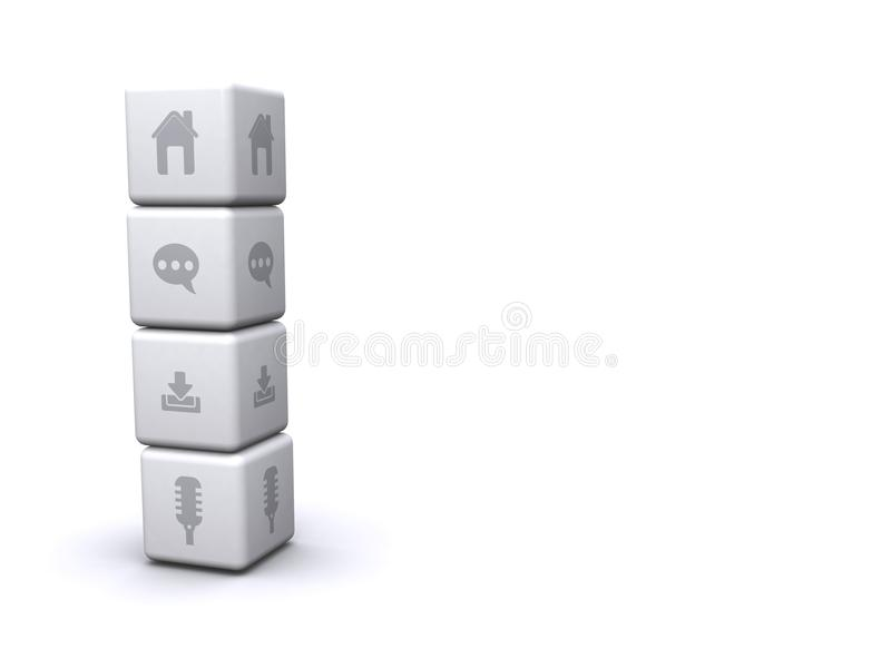 Stack of cubes with icons stock illustration