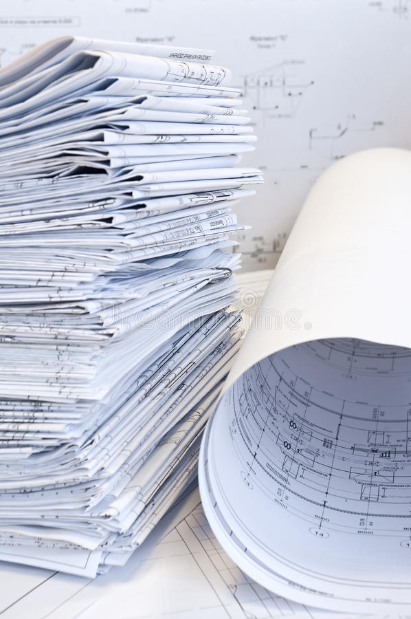 Stack of design drawings royalty free stock photography
