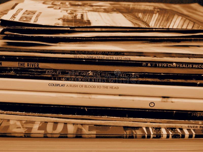 Stack di album di vinile LP fotografia stock libera da diritti