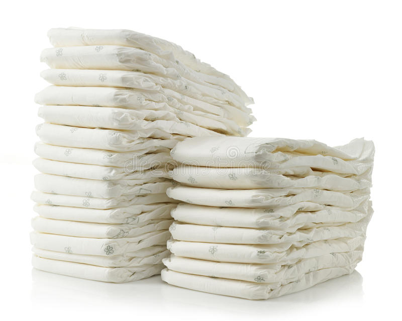 Stack of diapers stock photos