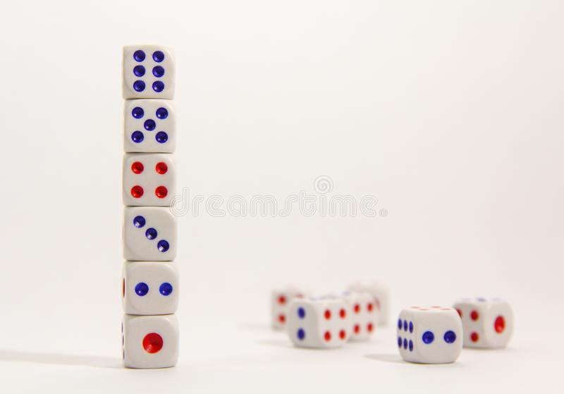 Stack Dice on white background stock image