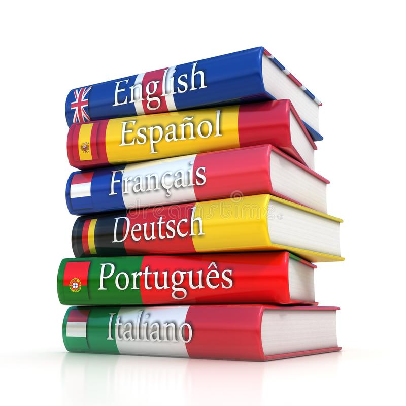 Stack of dictionaries, learning foreign language stock illustration