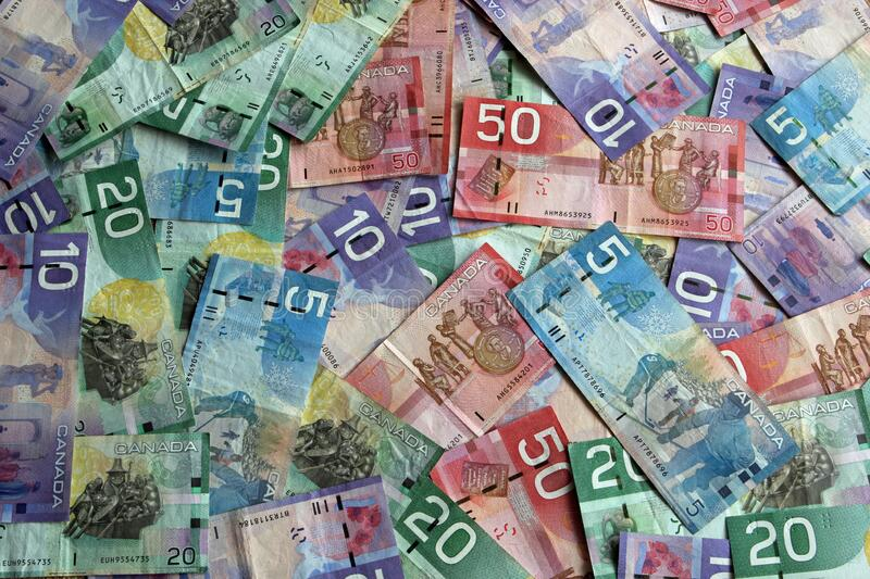 Stack of different Canadian Dollar Banknotes royalty free stock image