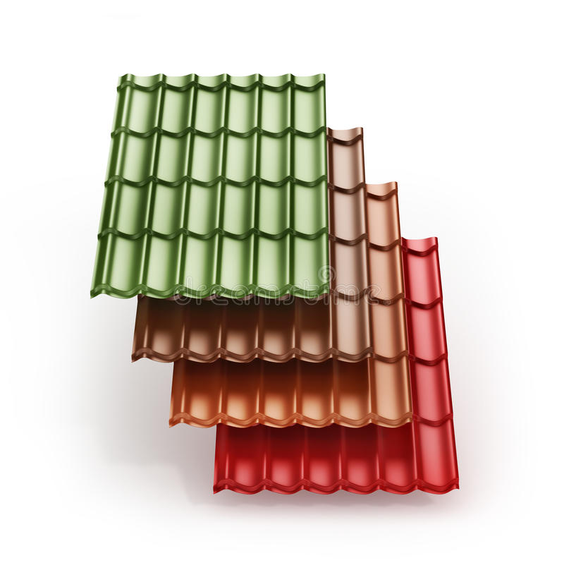 Stack of different colors metal tile roof coating. 3d illustration stock images