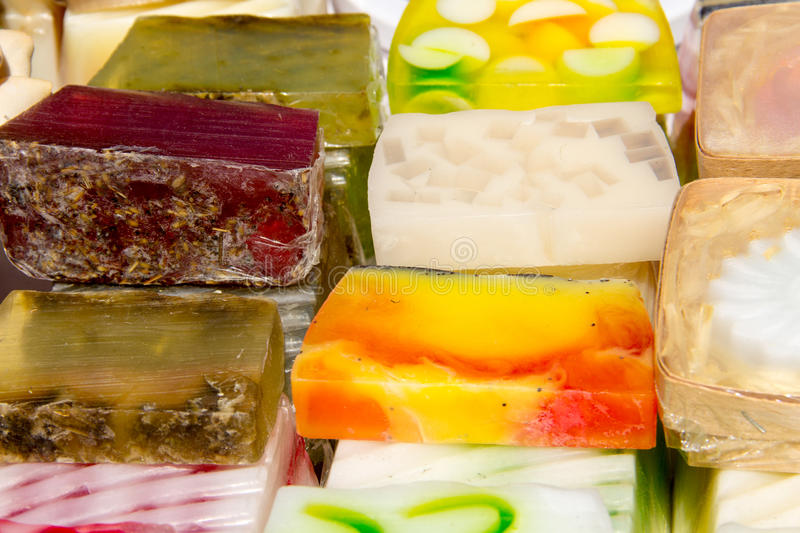 Stack of different natural handmade soaps royalty free stock photos