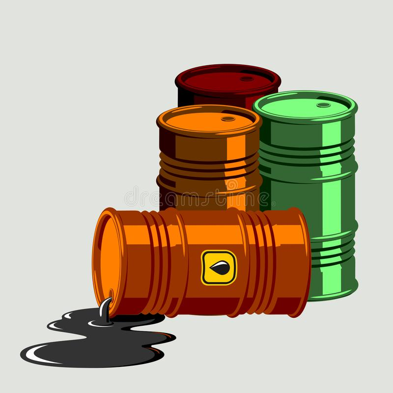 Oil drums container fuel cask storage rows steel barrels capacity tanks natural metal old bowels chemical vessel vector. Stack different oil drums fuel container vector illustration