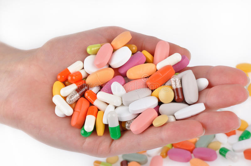 Stack of different pills stock photography