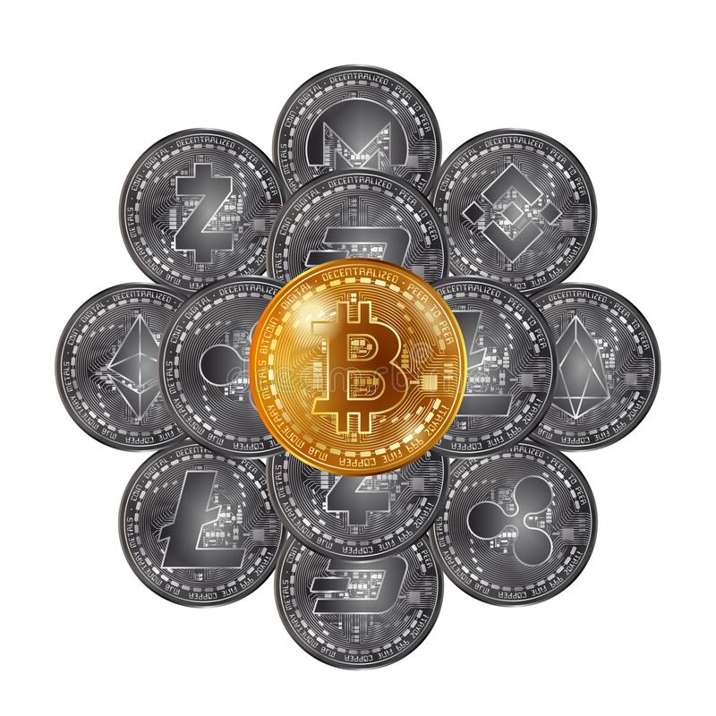 Different cryptocurrency coins stack stock illustration