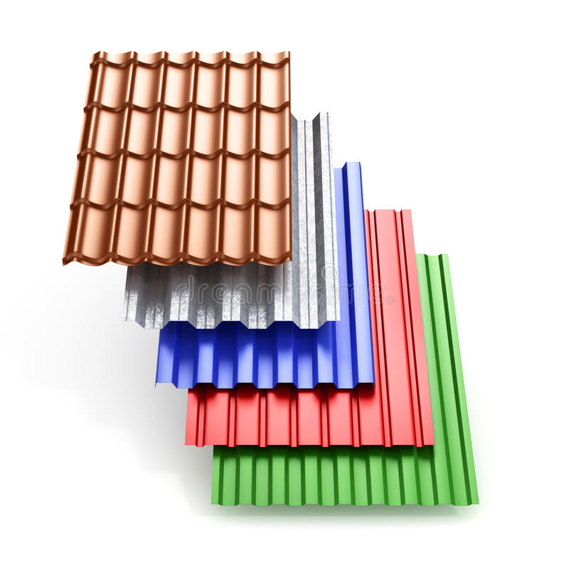Stack of different types metal roof coating. royalty free stock photos