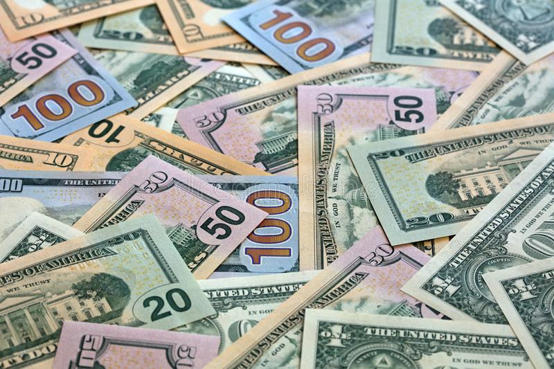 Stack of different US Dollar Banknotes stock photography