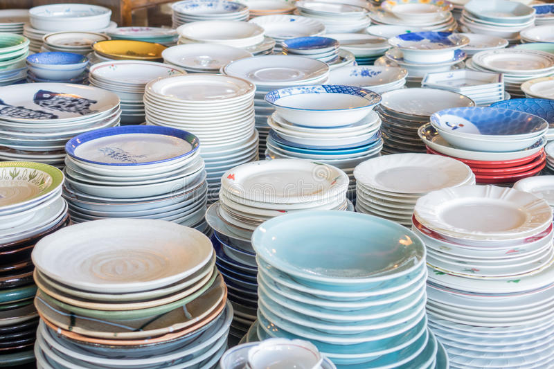 Stack dishes colorful stock image